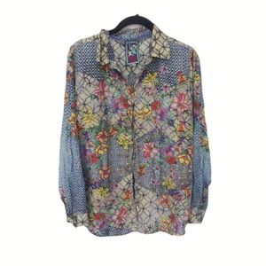 Johnny Was Silk Floral Button Down Top